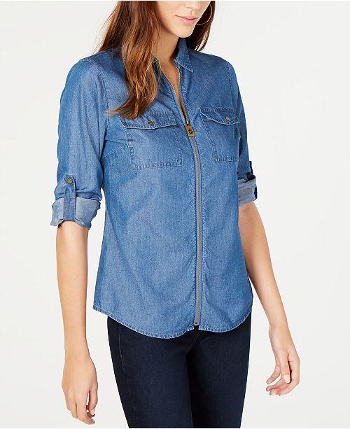Michael Kors Chambray Printed Zip-Front Collared Shirt, Regular and Petite Sizes
