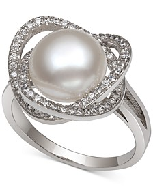 Cultured Freshwater Pearl (9mm) & Cubic Zirconia Statement Ring in Sterling Silver