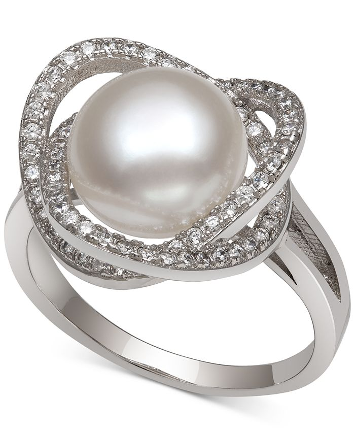 Macy's - Cultured Freshwater Pearl (9mm) & Cubic Zirconia Statement Ring in Sterling Silver