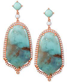 Le Vian® Sky Aquaprase (30x17mm & 5x5mm) & Multi-Stone Drop Earrings in 14k Rose Gold, Created for Macy's