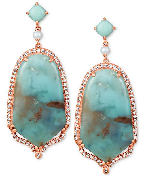 Le Vian Sky Aquaprase (30x17mm & 5x5mm) & Multi-Stone Drop Earrings in 14k Rose Gold, Created for Macy's