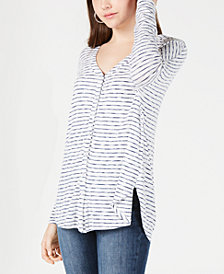 BCX Juniors' Striped Rib-Knit Button-Front Top