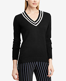 Lauren Ralph Lauren Lace-Trim V-Neck Sweater