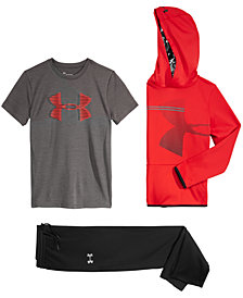 Under Armour Big Boys Armour Fleece Logo-Print Hoodie, Logo-Print T-Shirt & Armour Fleece Pantsz