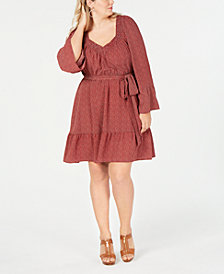 MICHAEL Michael Kors Plus Size Printed Belted Peasant Dress