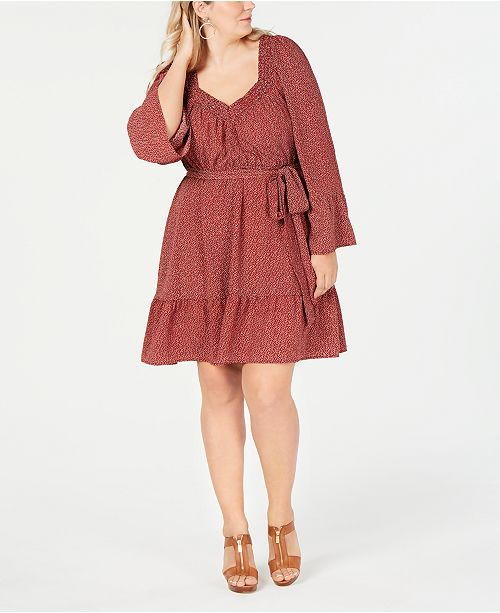 e85876ea09 Michael Kors Plus Size Printed Belted Peasant Dress Reviews