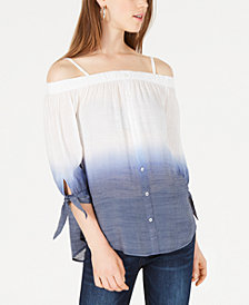 BCX Juniors' Dip-Dyed Off-The-Shoulder Top