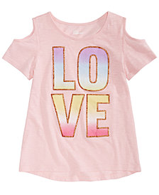 Epic Threads Big Girls Love Cold-Shoulder T-Shirt, Created for Macy's