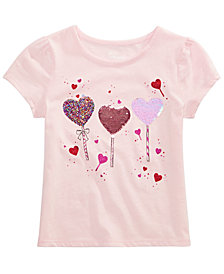 Epic Threads Little Girls Reversible Sequin Heart T-Shirt, Created for Macy's
