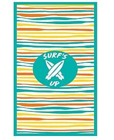 Premium High Performance Large Beach Pool Towel Surf's Up Wavy Stripe, Green By MinxNY