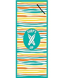 Premium High Performance Large Beach Pool Towel With Pocket Surf's Up Wavy Stripe, Green By MinxNY