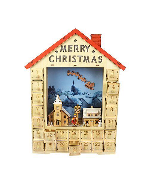 Jeco Christmas Wooden LED Calendar - Tabletop Decor