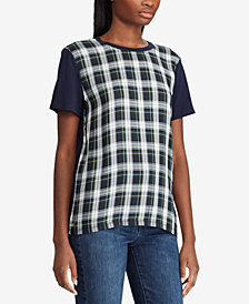 Lauren Ralph Lauren Petite Plaid-Panel T-Shirt