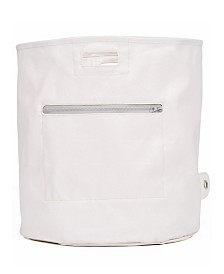 Mimish Canvas Storage Hamper Bin with Zipper Pocket