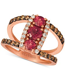 Le Vian® Rhodolite (1 ct. t.w.) & Nude™ & Chocolate™ Diamond (5/8 ct. t.w.) Statement Ring in 14k Rose Gold