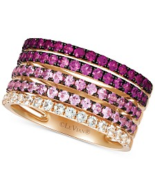 Le Vian® Strawberry Layer Cake Multi-Gemstone Stack Look Statement Ring (1-3/4 ct. t.w.) in 14k Rose Gold