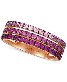 Le Vian® Strawberry Layer Cake Pink Sapphire Ombré Three Row Ring (1 ct. t.w.) in 14k Rose Gold