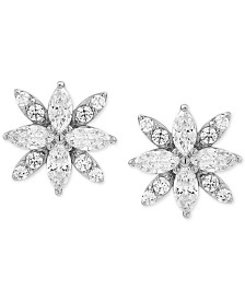 Cubic Zirconia Marquise Flower Stud Earrings in Sterling Silver