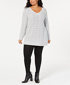 Style & Co Plus Size Pointelle-Knit Sweater, Created for Macy's