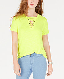 Material Girl Juniors' Camp Lace-Up T-Shirt, Created for Macy's