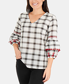 NY Collection Check Pom Pom Bell-Sleeve Top