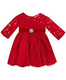 Rare Editions Baby Girls Illusion Lace Dress