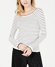 Maison Jules Striped Off-The-Shoulder Sweater, Created for Macy's