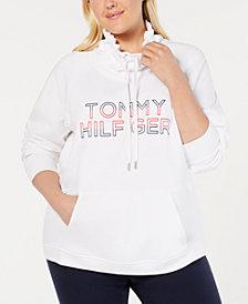 Tommy Hilfiger Sport Plus Size Funnel-Neck Logo Sweatshirt, Created for Macy's