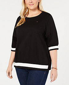 Tommy Hilfiger Plus Size Colorblocked-Striped Top, Created for Macy's