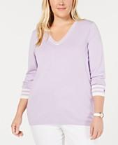 808cd63f78588 Tommy Hilfiger Cotton Plus Size V-Neck Sweater