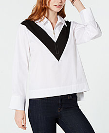 Tommy Hilfiger Chevron Zip Popover Top, Created for Macy's