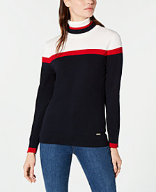 Tommy Hilfiger Cotton Colorblocked Turtleneck Sweater, Created for Macy's