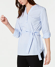 Tommy Hilfiger Striped Belted Top, Created for Macy's