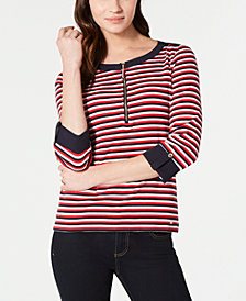 Tommy Hilfiger Cotton Striped Zippered Top, Created for Macy's