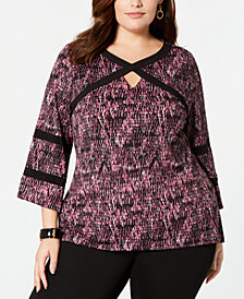 NY Collection Plus Size Printed Bell-Sleeve Blouse