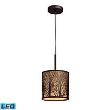 Woodland Sunrise 1-Light Pendant in Aged Bronze - LED Offering Up To 800 Lumens (60 Watt Equivalent)