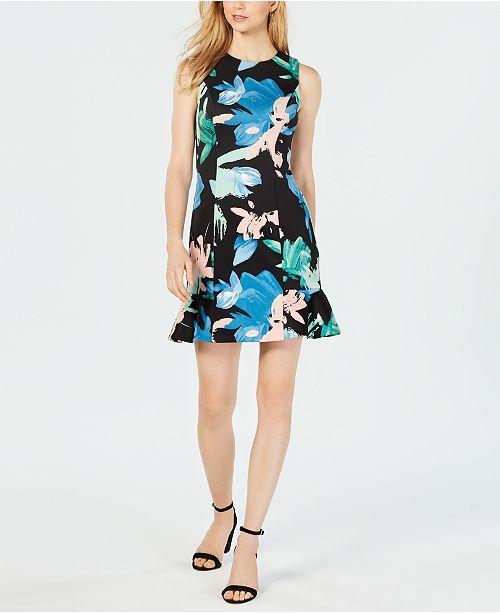 d5d0bc0f77e8 Vince Camuto Floral Scuba Sheath Dress   Reviews - Dresses - Women ...