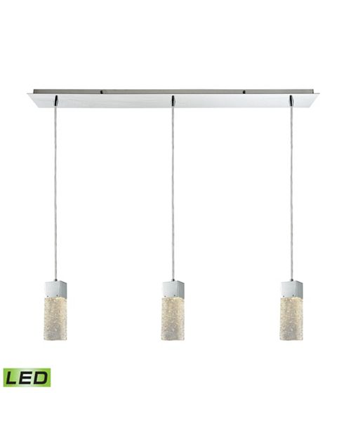 ELK Lighting Cubic Ice 3 Light Linear Pan Fixture in Polished Chrome with Solid Textured Glass