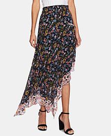 CeCe Demure Flora Asymmetrical Skirt