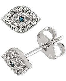 Diamond Evil Eye Stud Earrings (1/10 ct. t.w.) in  Sterling Silver
