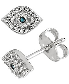 Elsie May Diamond Evil Eye Stud Earrings (1/10 ct. t.w.) in  Sterling Silver