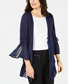 JM Collection Chiffon-Trim Bell-Sleeve Cardigan, Created for Macy's
