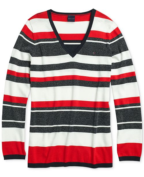 2cdf2db1bb ... Tommy Hilfiger Women s Lurex Roadmap Sweater with Magnetic Closures ...
