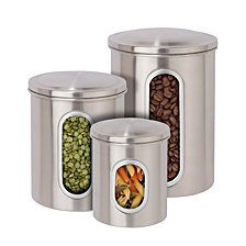 Honey Can Do 3-Pc. White Food Storage Canisters