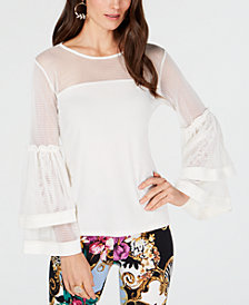 Thalia Sodi Tiered Bell-Sleeve Mesh Top, Created for Macy's