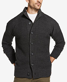 Weatherproof Vintage Men's Waffle-Stitch Button Cardigan