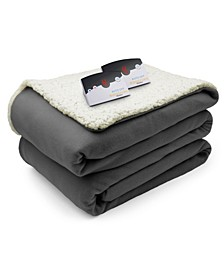 Heated Comfort Knit Fleece/Sherpa Queen Blanket