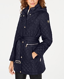 Vince Camuto Belted Hooded Quilted Coat