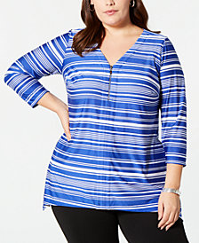 NY Collection Plus Size Printed Zip-Neck Top