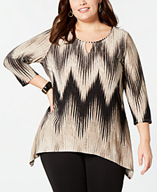NY Collection Plus Size Printed Keyhole 3/4-Sleeve Top